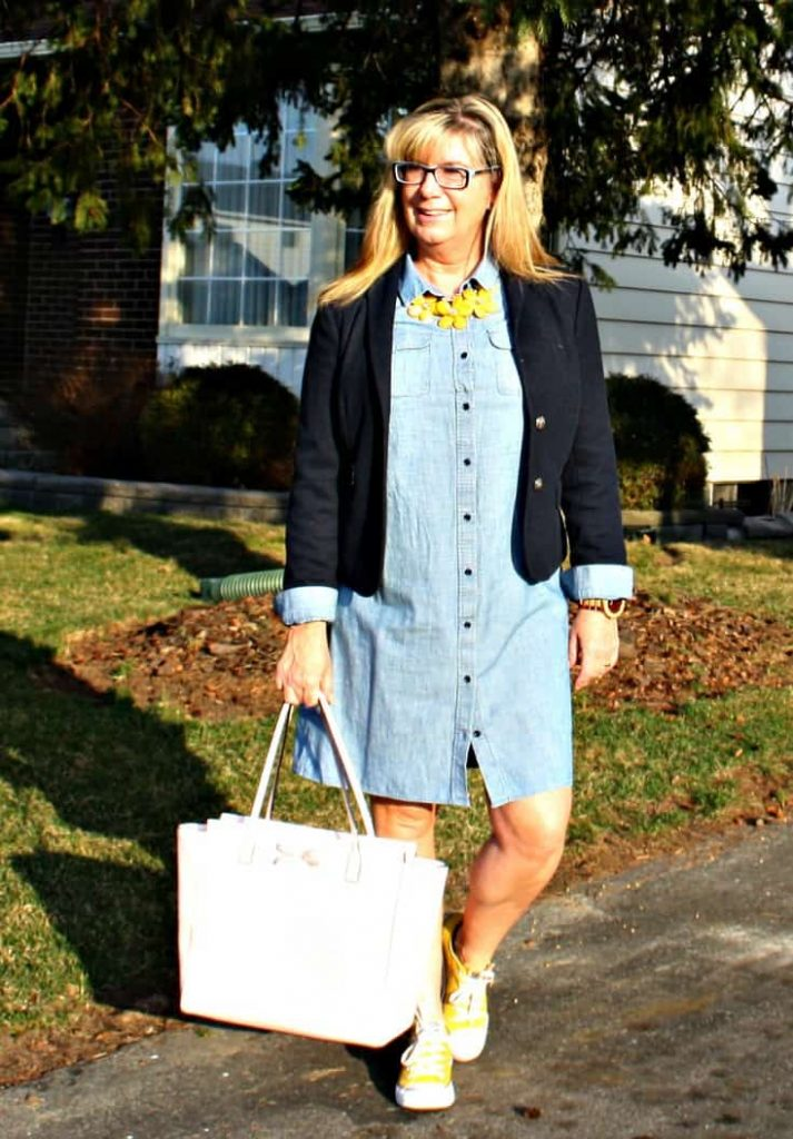 J Crew Chambray and Yellow Converse