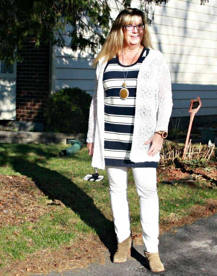 J Crew striped dress with old navy white denim and a suede boot. Plus a sylca necklace
