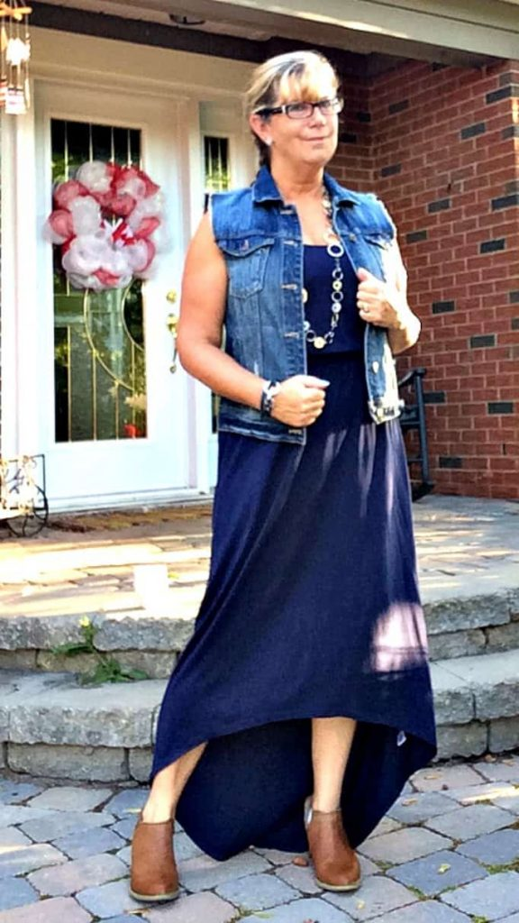 Old navy hi-lo maxi, Forever 21 denim vest and booties and lia sophia jewellery