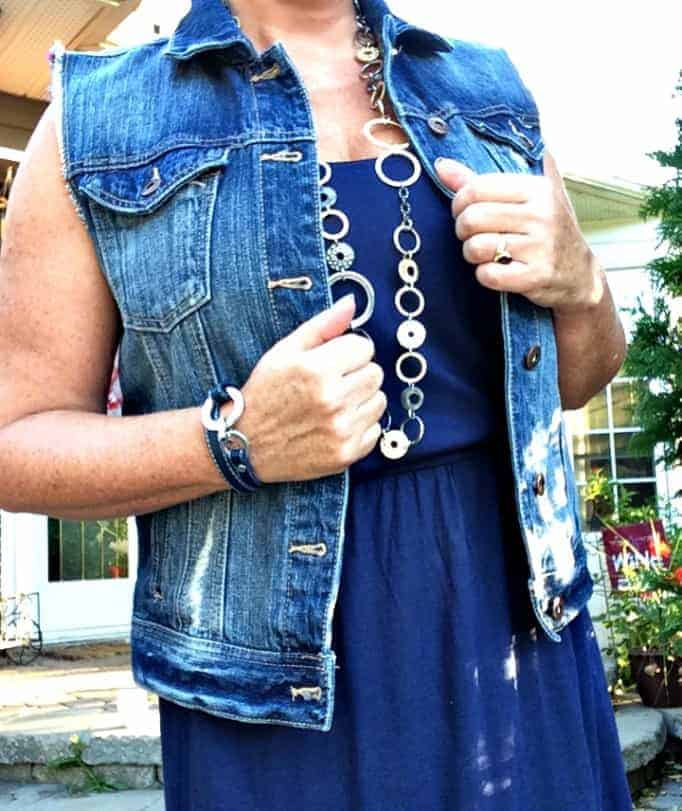 Old navy hi-lo maxi, Forever 21 denim vest and lia sophia jewellery