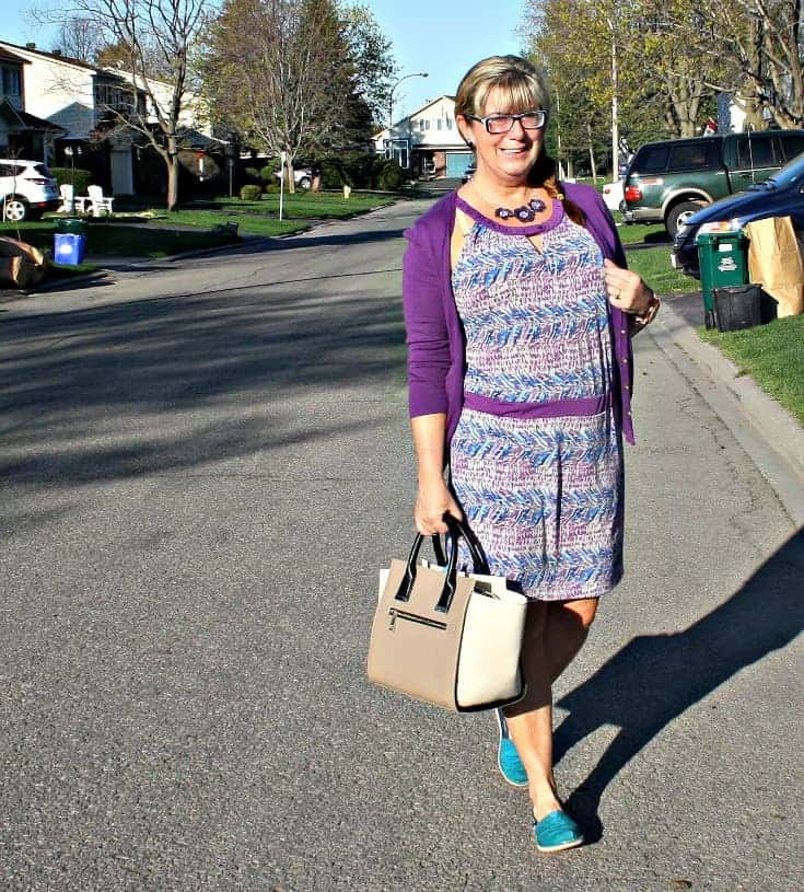Banana Republic Dress and Cardi in Blue and purple, with aqua toms topped with a jord