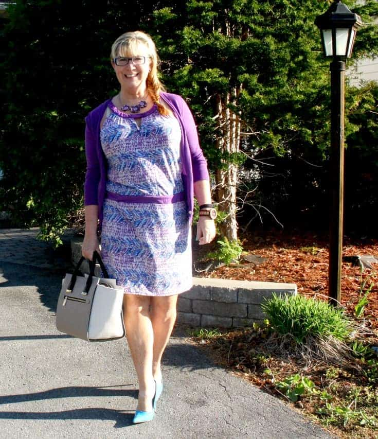 Banana Republic Dress and Cardi in Blue and purple, with aqua pumps and a two tone tote topped with a jord
