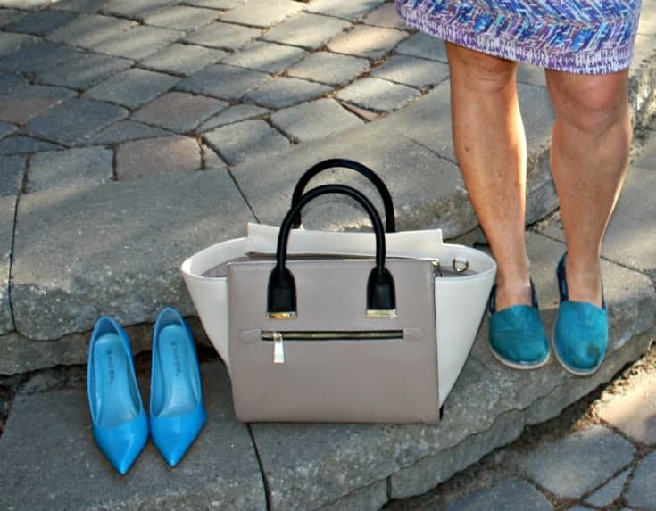 aqua pumps, toms and a two tone tote