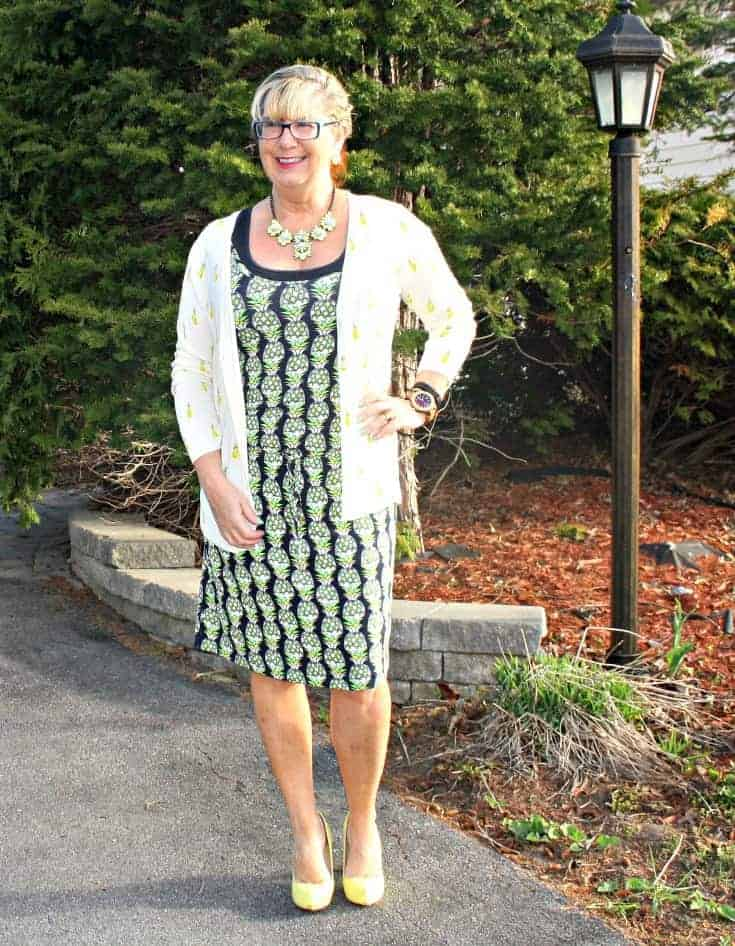 Pineapple Dress and Cardigan with a yellow pump, and a yosa necklace