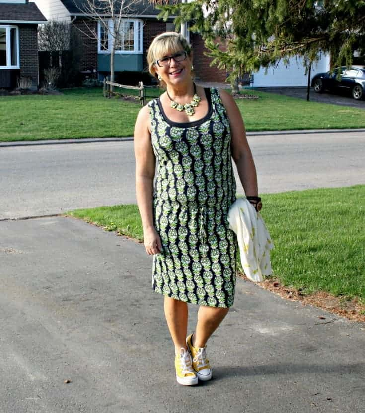 Pineapple Dress and Cardigan with a yellow converse, and a jord watch and a yosa necklace