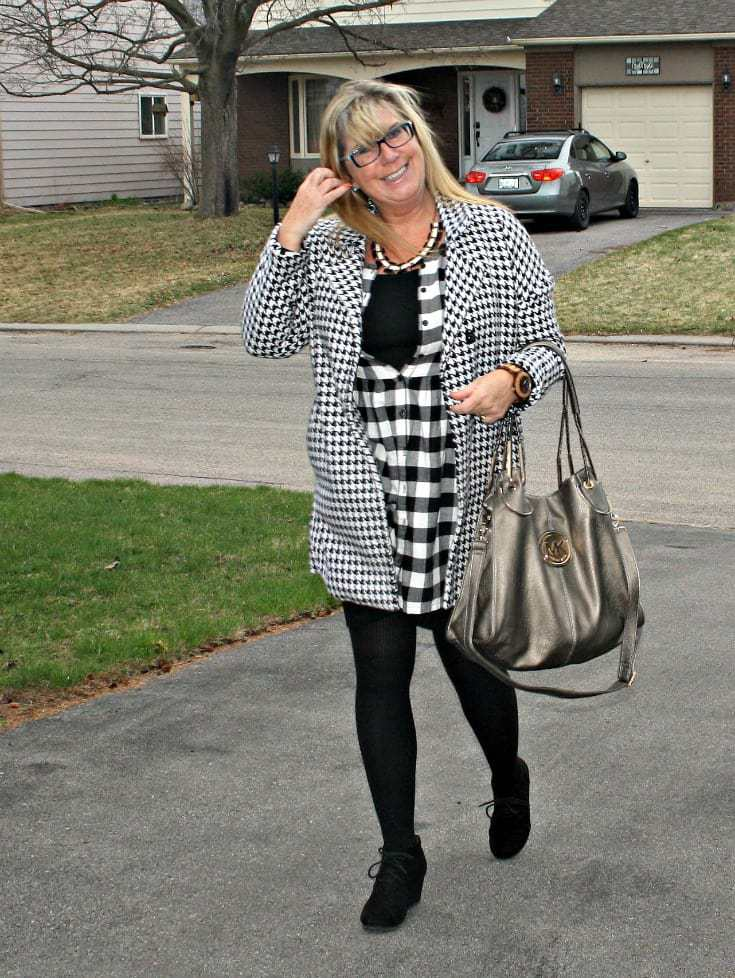 Black and white dress over a LBD with george wedges