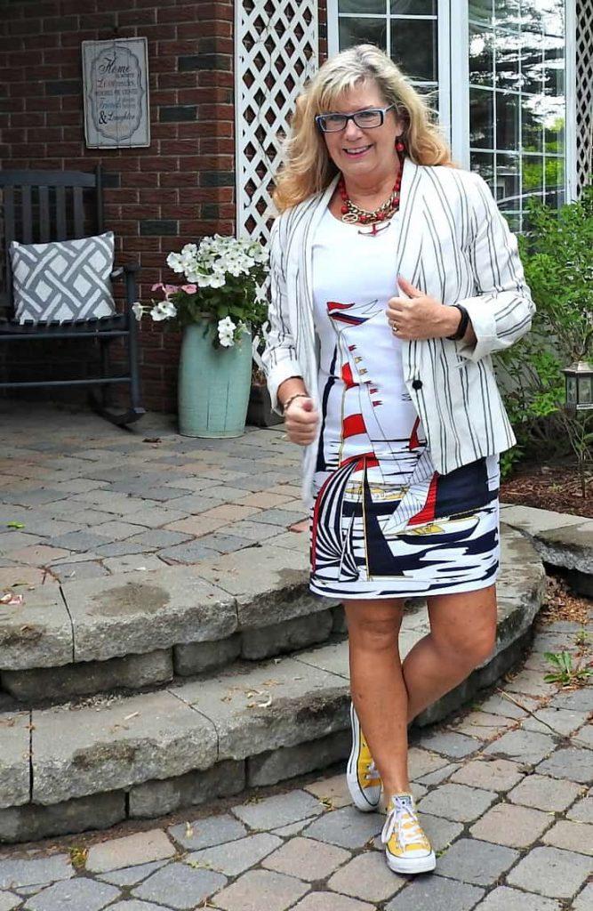 Banana republic sailboat dress, Old navy Linen Blazer, anchor necklace and converse