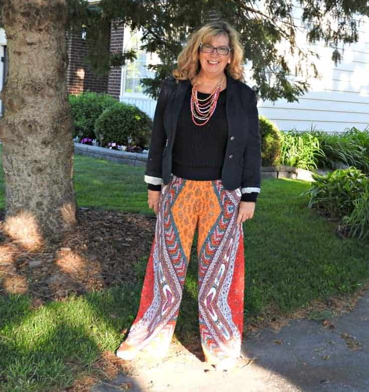 Forever 21 palazzo pants and a classic blazer paired with pumas and a classic tote