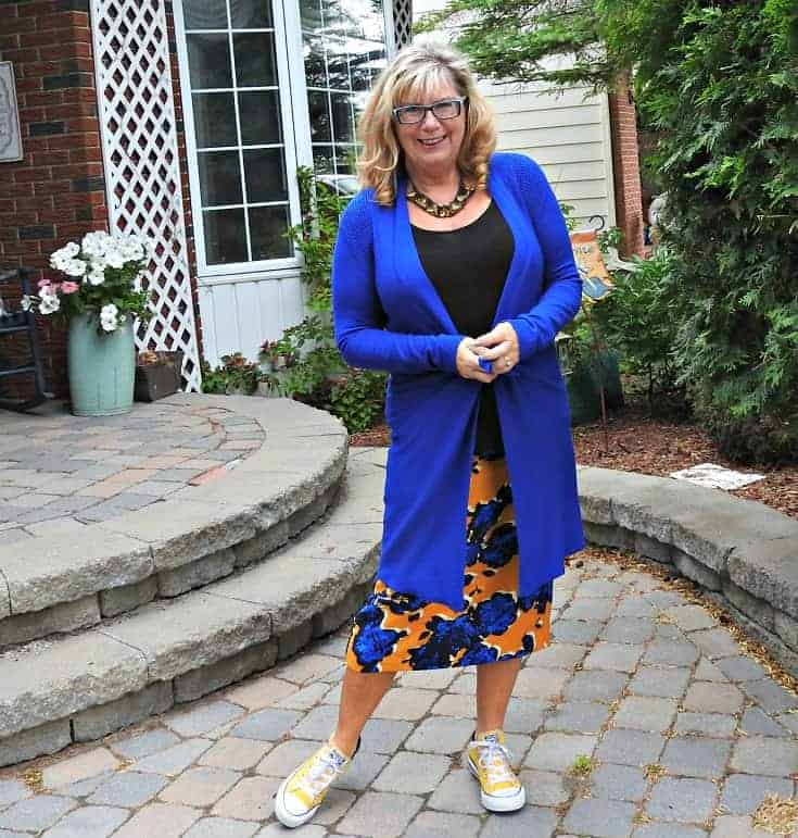 Target Floral Skirt, yellow  converse and a vibrant Blue cardigan from Giant Tiger