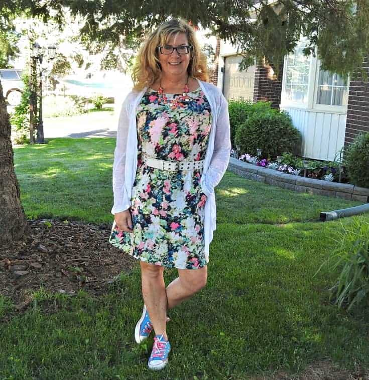 floral dress from Target and converse