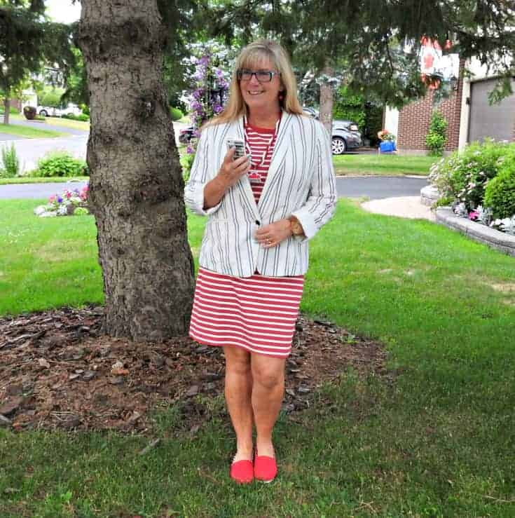 Old navy red striped dress and linen blazer with a Canada Day necklace and Giant Tiger red tom canada shoes