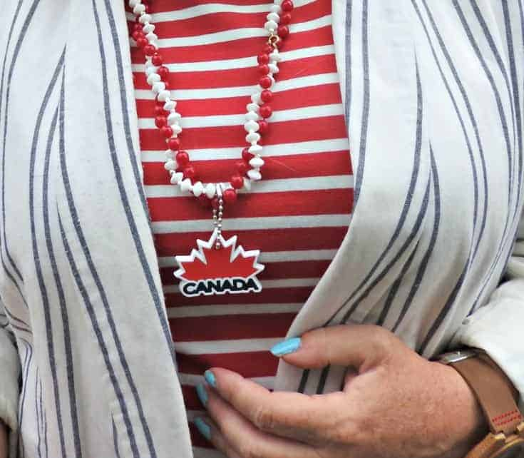 Old navy red striped dress and linen blazer with a Canada Day necklace