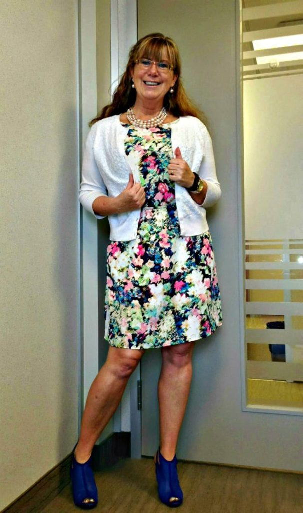 floral dress from Target and shoe dazzle heels ( wedge boots)