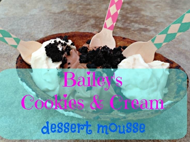 Bailey's Cookies and Cream Dessert Mousse in Taco Bowls that is also kid friendly