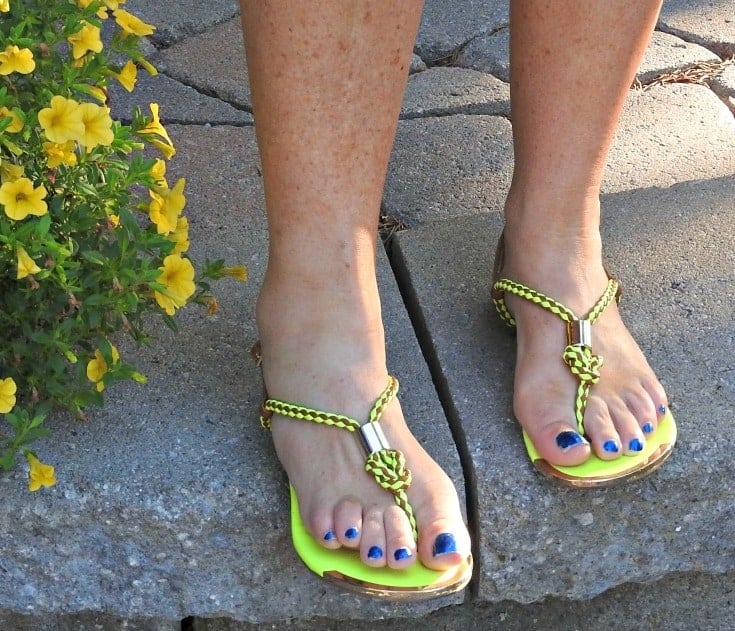 neon sandals from Target