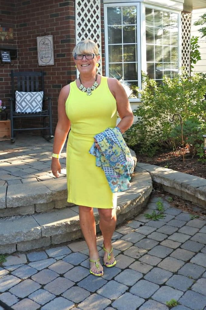 Old Navy Neon yellow dress with a Target Kimono and neon sandals paired with a yosa necklace