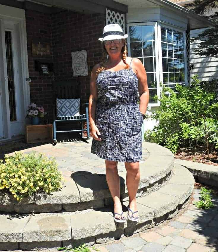 Joe Fresh Sun Dress and anchor flip flops from Old Navy with a Fedora