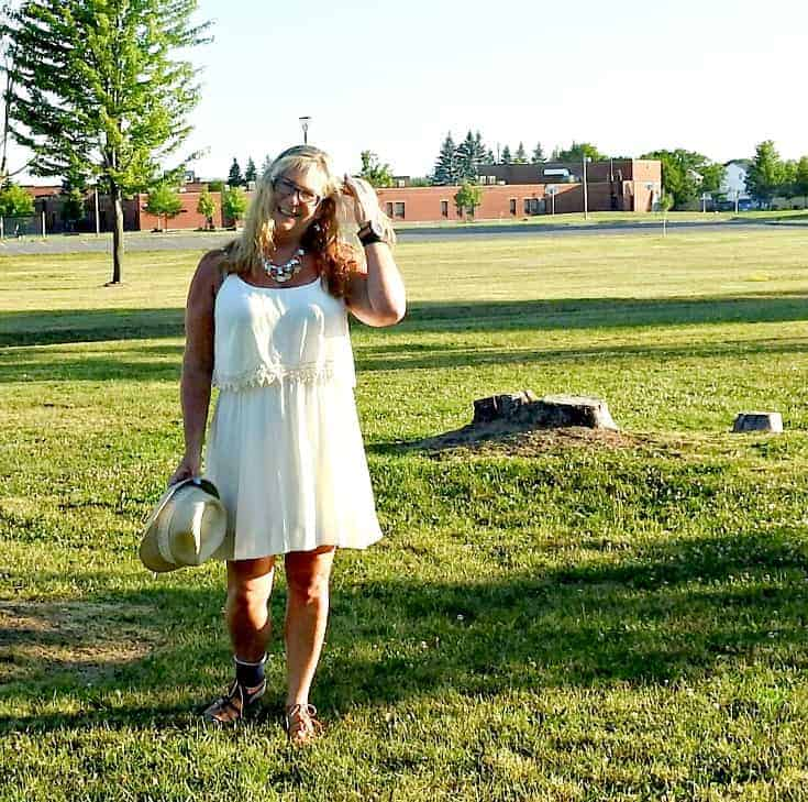 Forever 21 cream dress, Fedora and tie up sandals