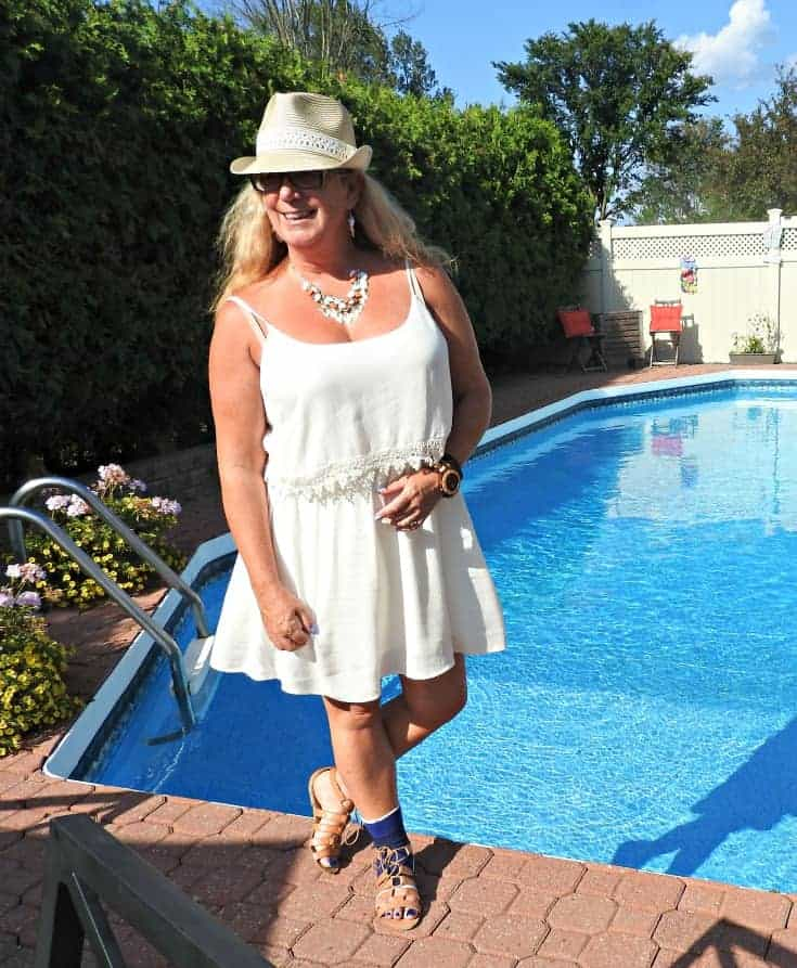 Forever 21 cream dress, Fedora and tie up sandals poolside