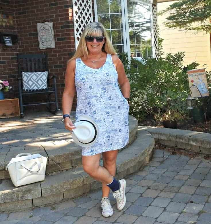 Old Navy sundress, Kate spade bag and a fedora. With my converse and a Jord watch