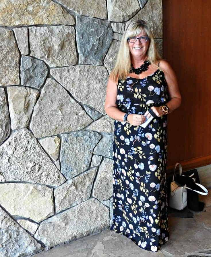 Forever 21 Floral Maxi with a black floral necklace and silver flats at Casino Rama