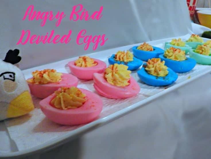 Angry Bird Movie night with fun bird snacks like deviled eggs