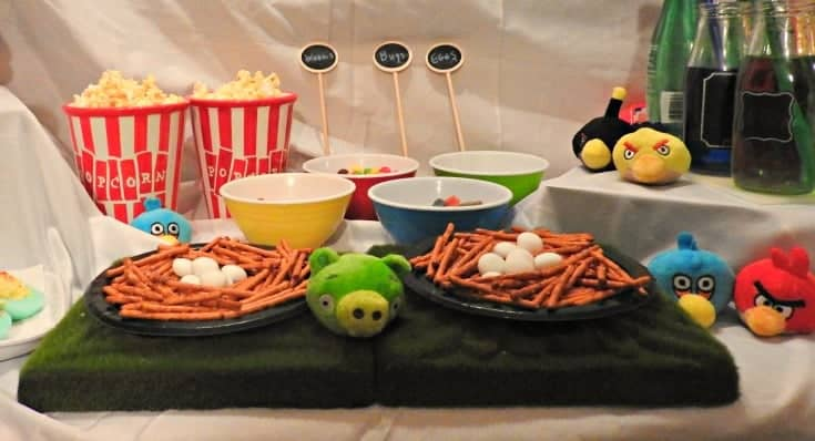 Angry Bird Movie night with fun bird snacks