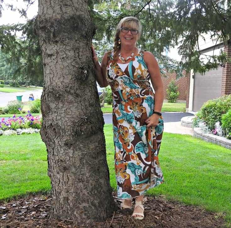 Giant tiger Sundress and natural wedge sandals with a crochet cardigan