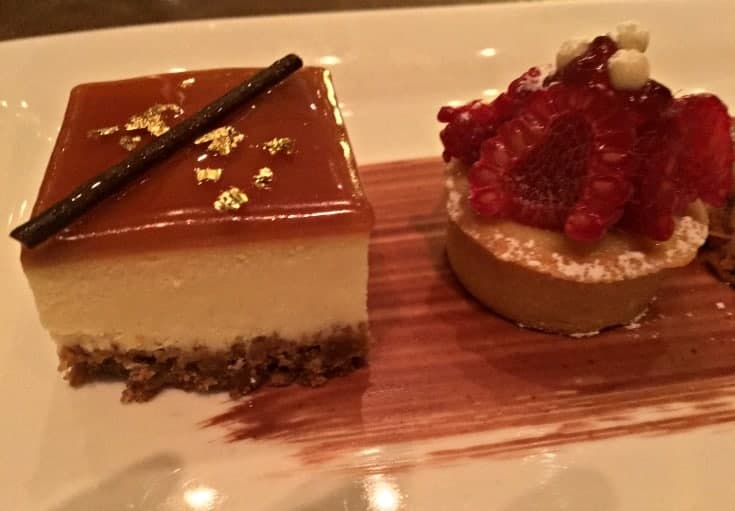 Salted Caramel Cheesecake and Passionfruit Raspberry Tart at St Germains