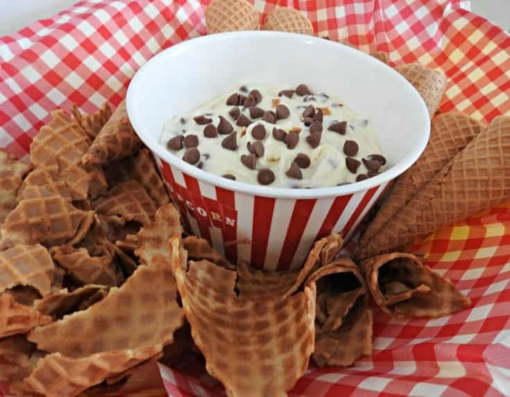 Cottage cheese cannoli dip and waffle cones