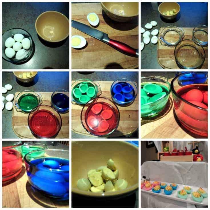 making coloured deviled eggs