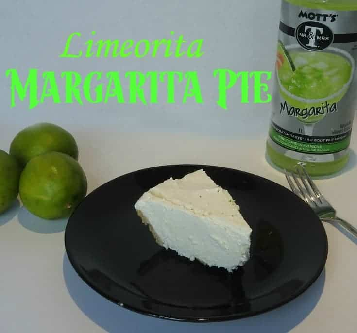 no bake margarita pie on a black plate