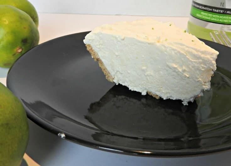 Margarita pie on a black dinner plate