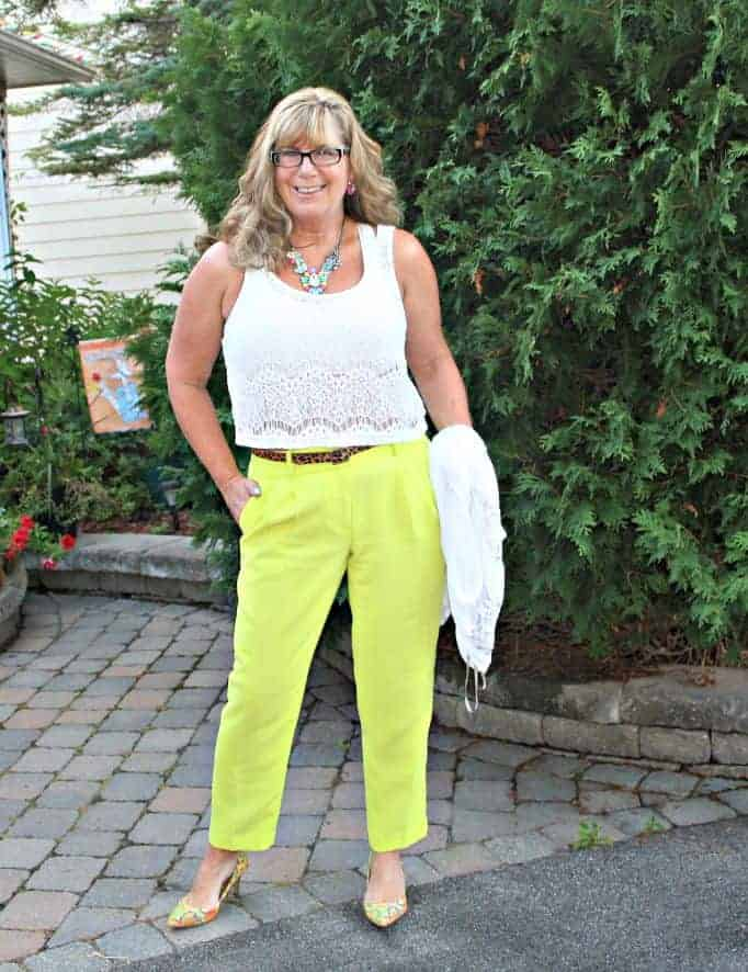 j crew neon pants and a Yosa necklace