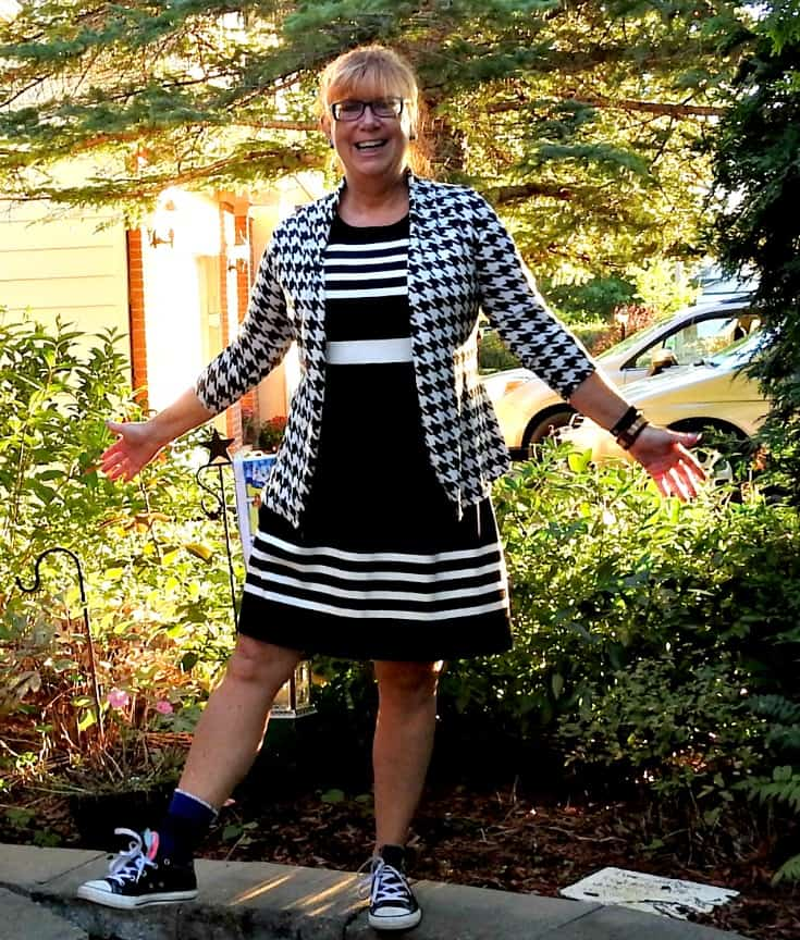 J Crew Dress and Houndstooth cardi with converse