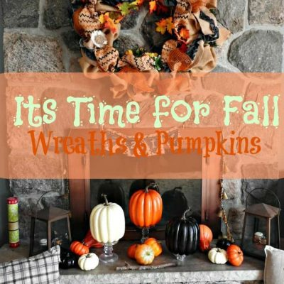 A Fall Mantle featuring a Burlap Wreath