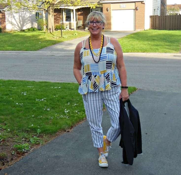 Old Navy Peplum cami and linen stripped pants
