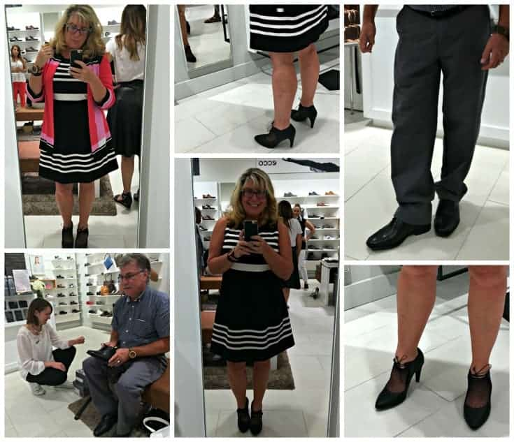 trying on shoes at ECCO Canada