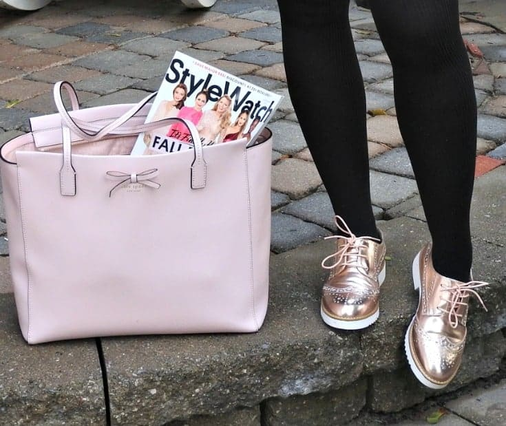 Blush and black with a rose gold metallic brogue