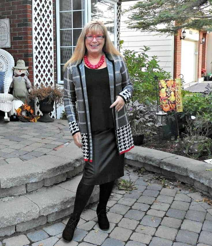 Laura's houndstooth cardi and faux leather pencil skirt