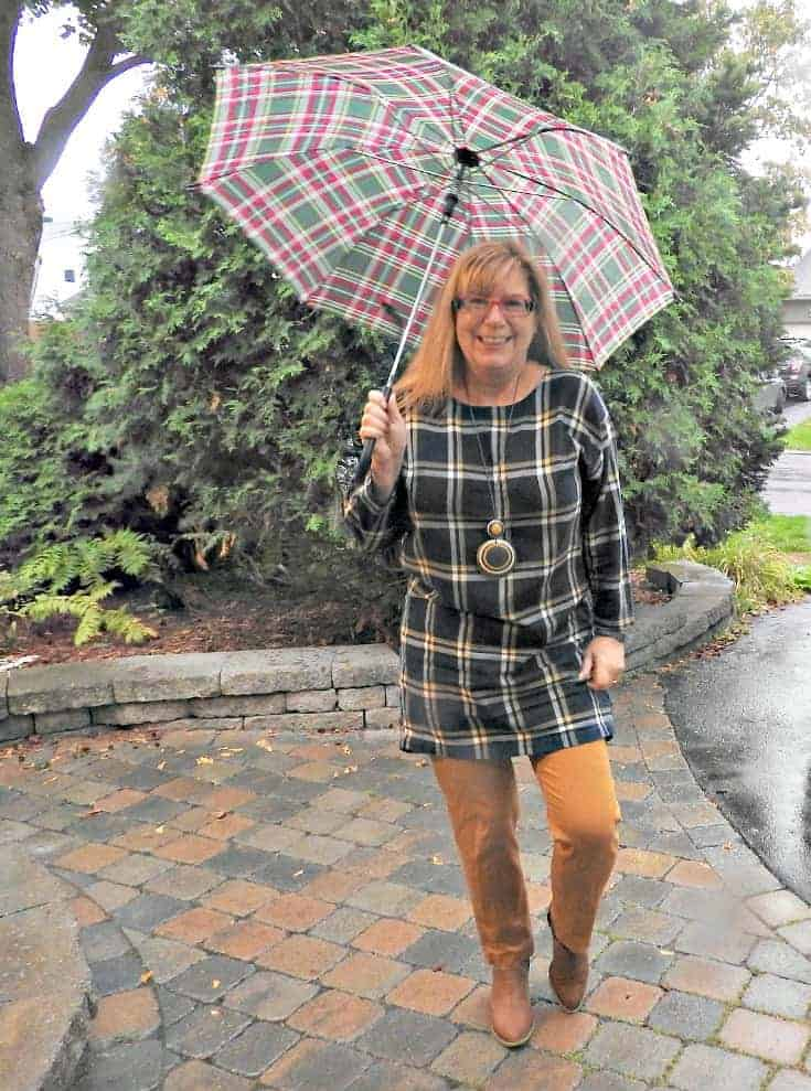 Old navy plaid tunic and pixie pants with a moto jacket and bootie