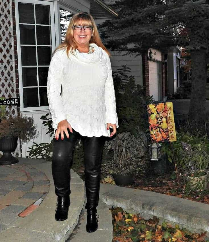 Cream Sweater from Hudson Bay Company and Black Leather leggings