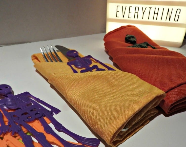 Halloween Party Tables and fun Napkin Folds