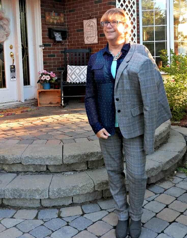 Zellers plaid suit with a polka dot blouse and Forever 21 boots
