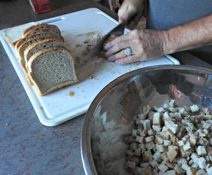 preparing the bread for the stuffing
