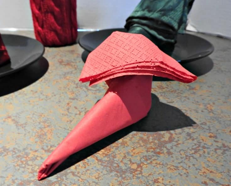 Christmas Elf Shoes with  paper napkins for your holiday table