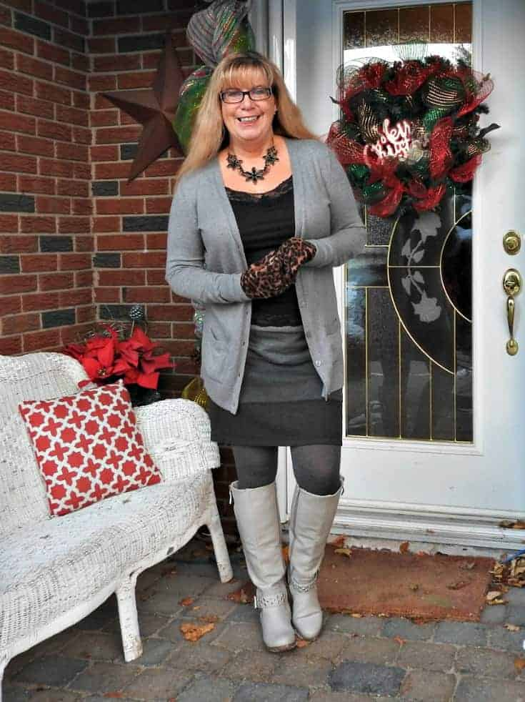 Grey striped knit skirt, boyfriend necklace and shoe dazzle boots with a Happiness Boutique floral necklace