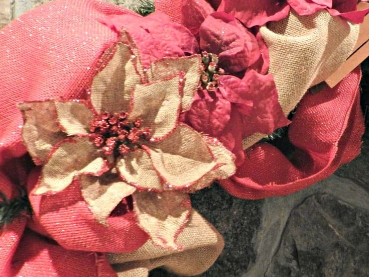 Christmas wreath with burlap and seasonal ornaments