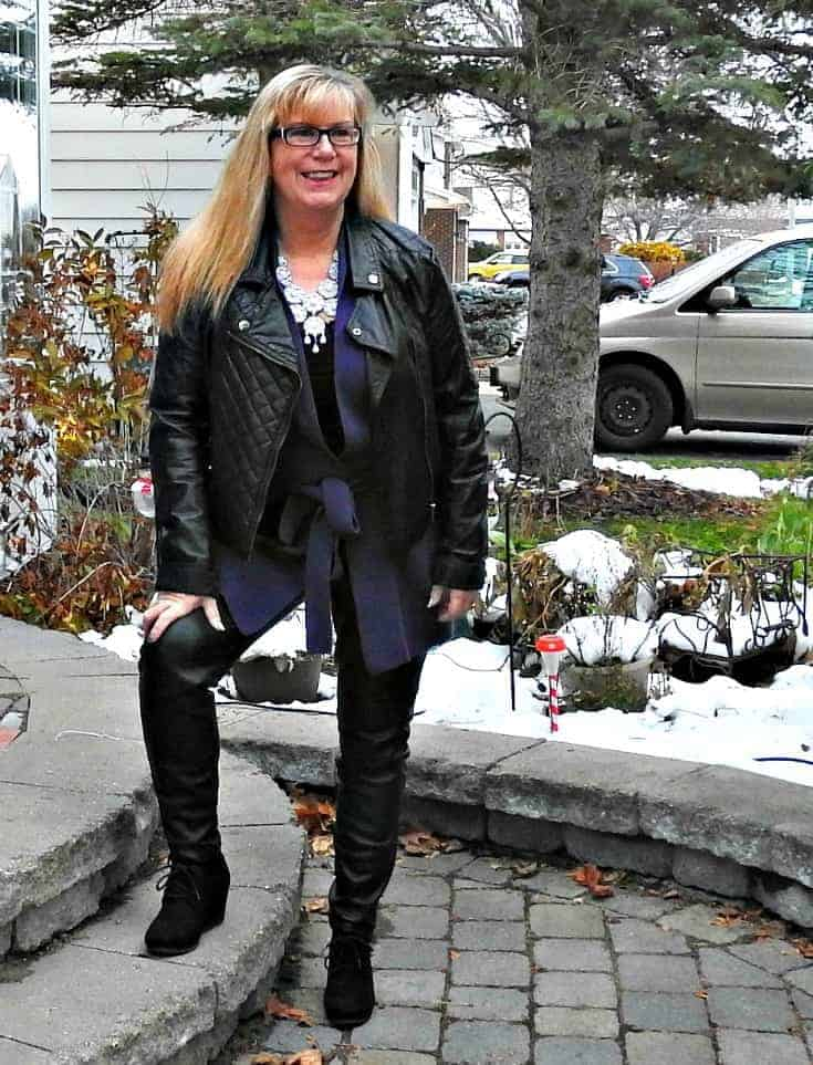 woolover cardigan, moto jacket and leather leggings with a wedge bootie