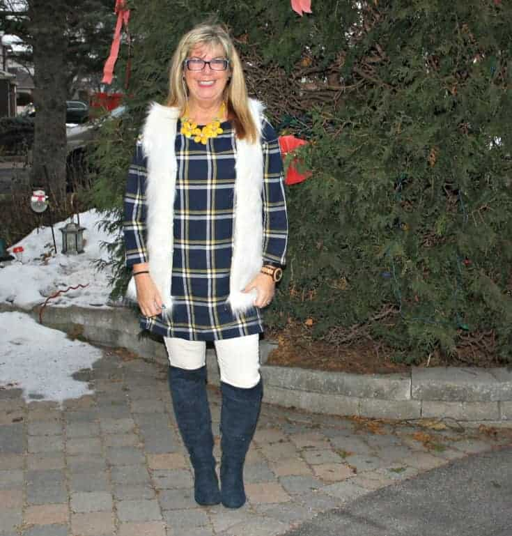 Old Navy Plaid Tunic in white fur and denim